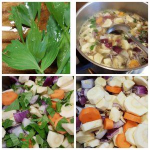 Bilder-Collage, Maggikraut, offener Suppentopf mit Löffel, geschnittenes Gemüse